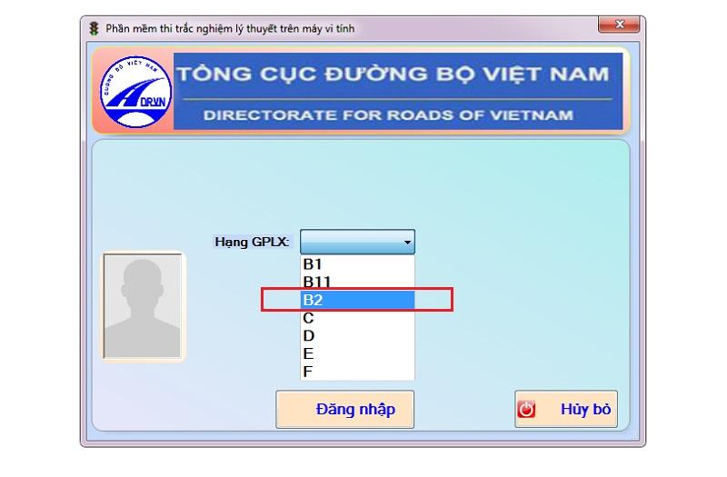 chọn hạng thi giấy phép lái xe