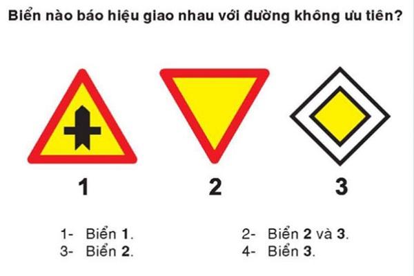 thi lý thuyết bằng lái xe b1 câu hỏi biển báo